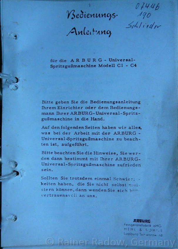 Arburg C4 Spritzgussmaschine - Bedienungsanleitung