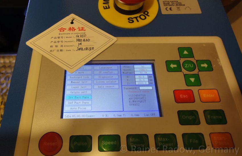 Shenhui G350 CO2 Laser mit Farbdisplay (2015)