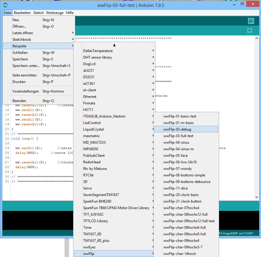 Nach Auswahl des Nanos sind die Beispiele für die wwFlip Library in der IDE sichtbar<br>(ich füge laufend etwas Neues hinzu!)