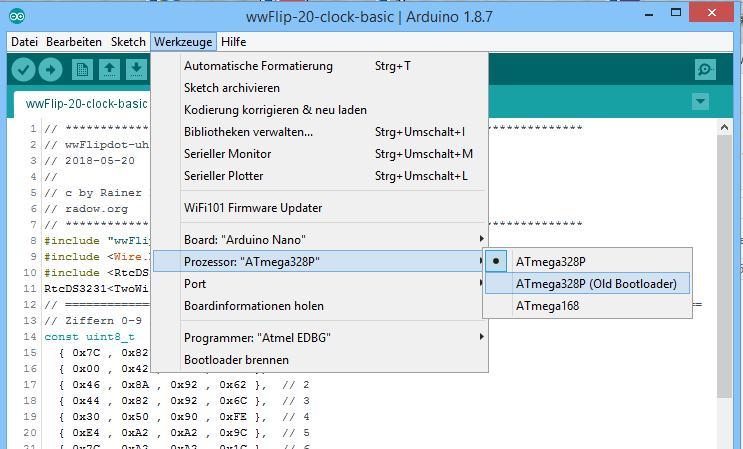 Für die wwFlip Library muss der Arduino Nano mit ATmega328P ausgewählt sein