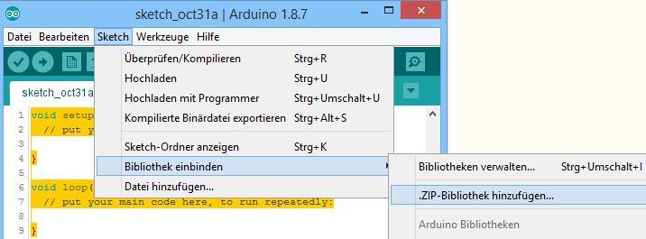 Einbinden der wwFlip.h in die Arduino IDE