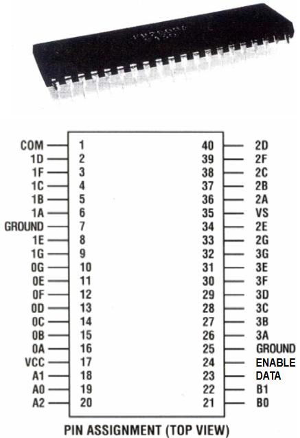 Flip-Dot Brose2840 = FP2800A, dieses Schaltbild habe ich aus dem Datenblatt kopiert