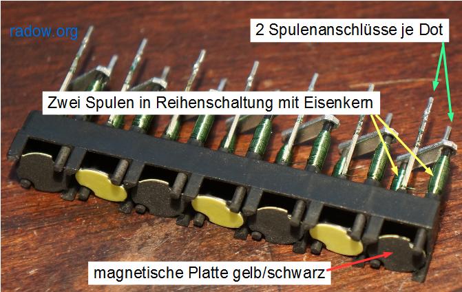 Flip-Dot Modul 1x7, Typ BROSE mit 2 Spulen und einer drehbaren Platte