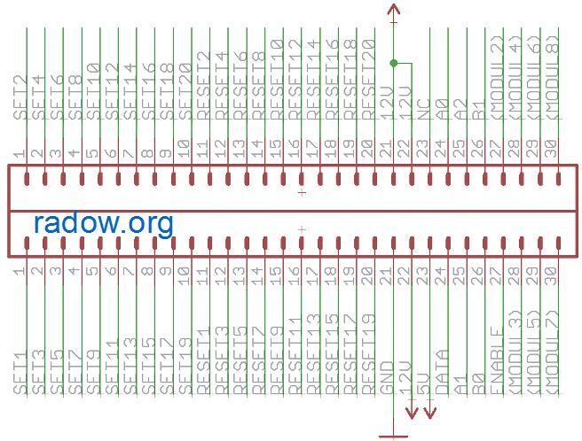 """Original-Belegung des 60-poligen Flip-Dot Steckers auf den BROSE Modulen<br> """"12V"""" muss im Original mit 24Volt versorgt werden"""