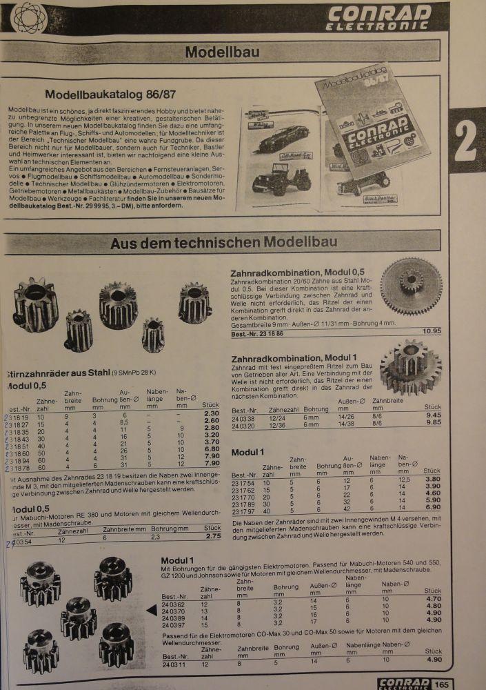 Metallzahnräder für den Schraubenantrieb - Katalogseite von 1987