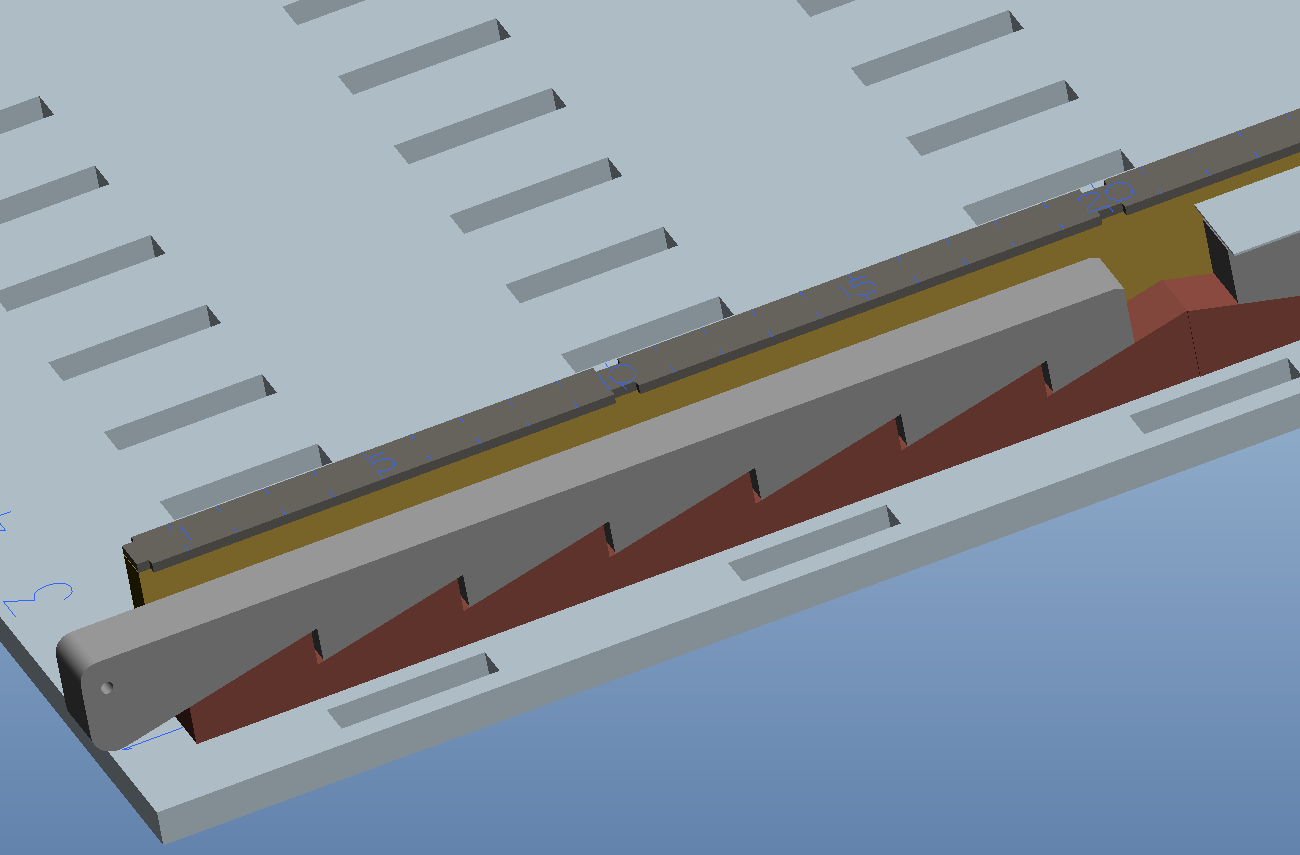 Keilsystem zum sicheren Festsetzen der Bauteilstreifen im Tray